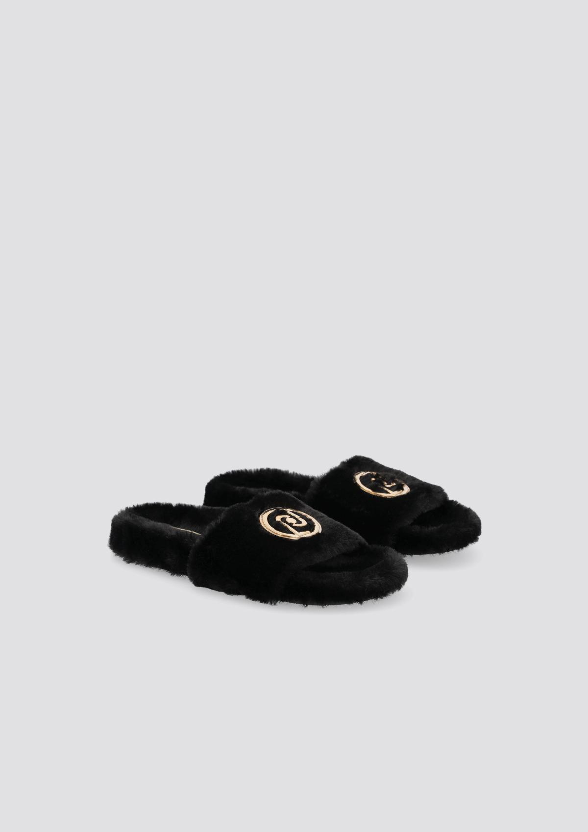 LIU.JO Black slippers in synthetic fabric BLACK new