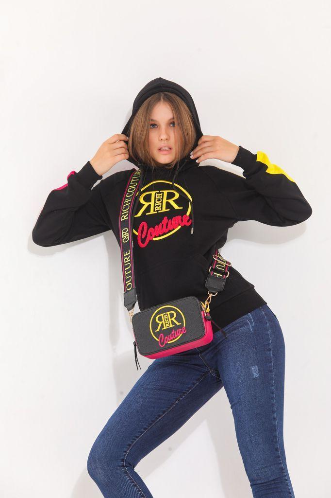 Richi hoodie zwart roze New