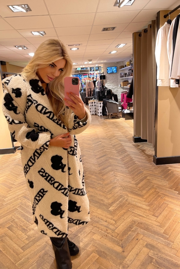 REINDERS TEDDY COAT LONG WITH ALL OVER PRINT CREME