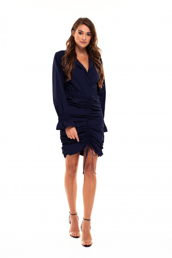 JURK MET RUCHES NAVY  JACKY LUXURY