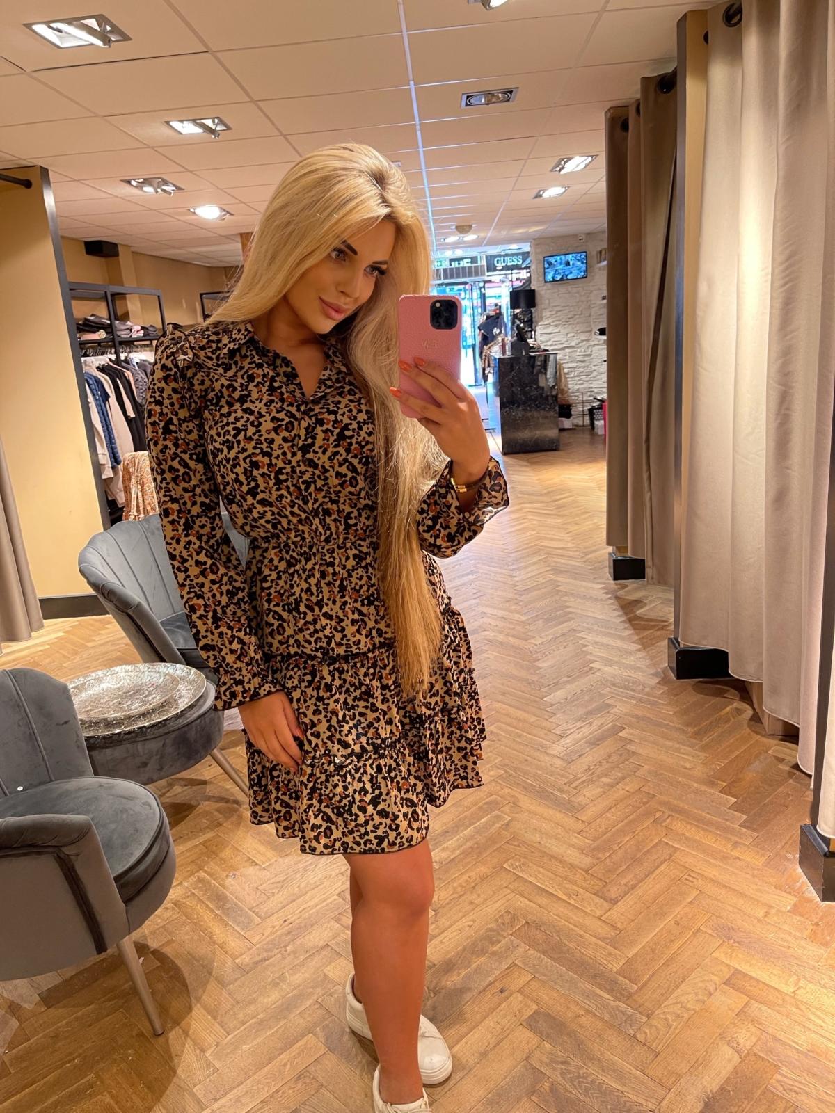 Sienna dress PANTERPRINT bruin