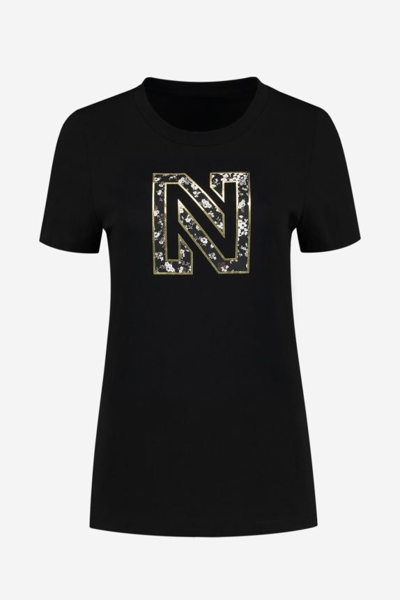 NIKKIE  NIKKIE FLOWER LOGO T-SHIRT BLACK