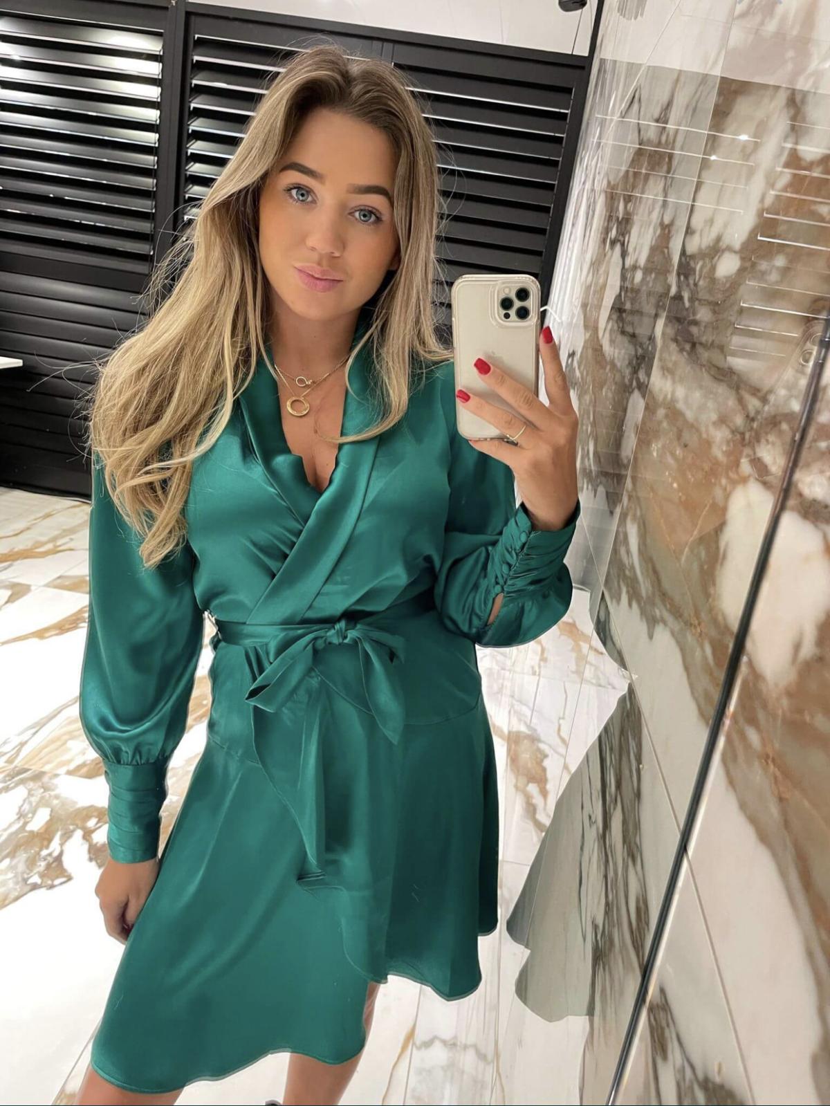 Felicia Dress Slik New green