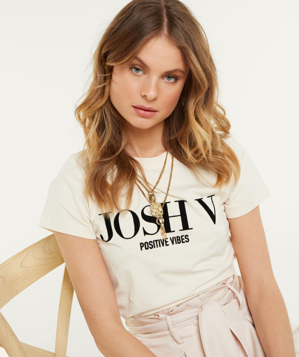 JV  ZOE POSITIVE VIBES T-shirt – cream