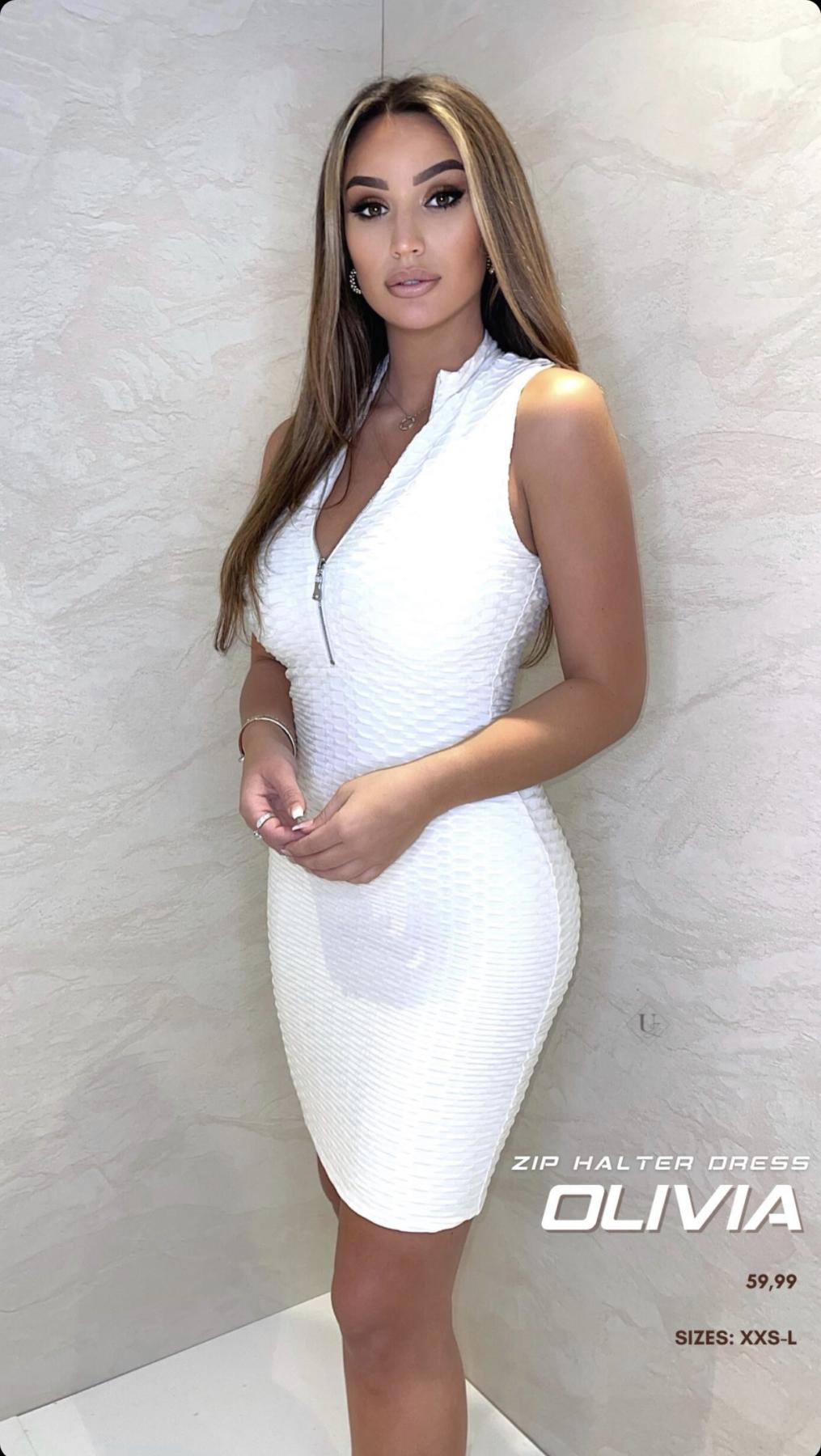 UNIQUE THE LABEL OLIVIA ZIP DRESS – white