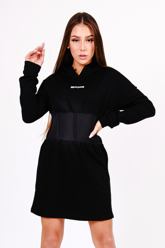 Sixth June Hoodie corset dress Black  New