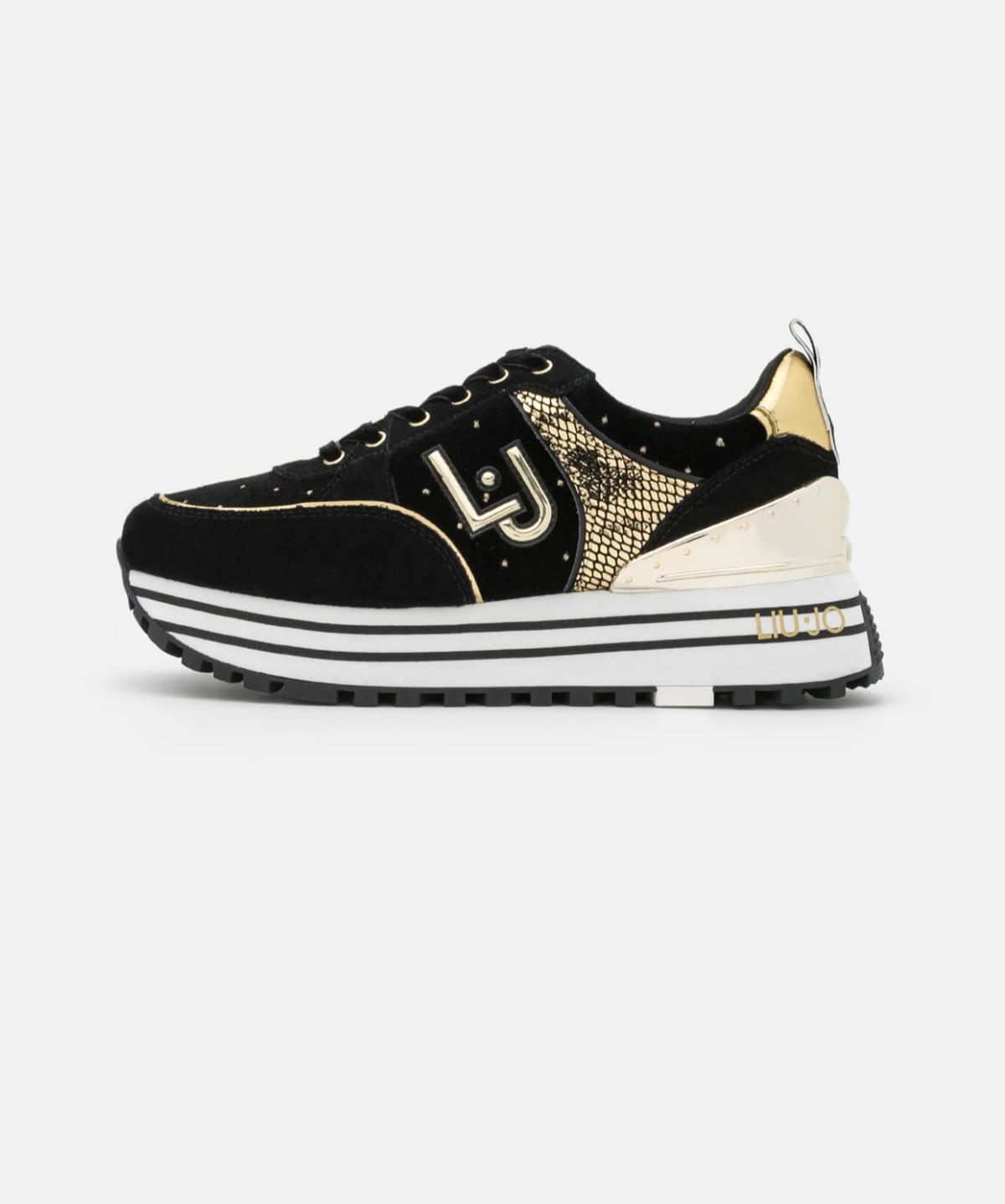 Liu Jo Jeans MAXI – Sneakers laag BLACK gold NEW 2021
