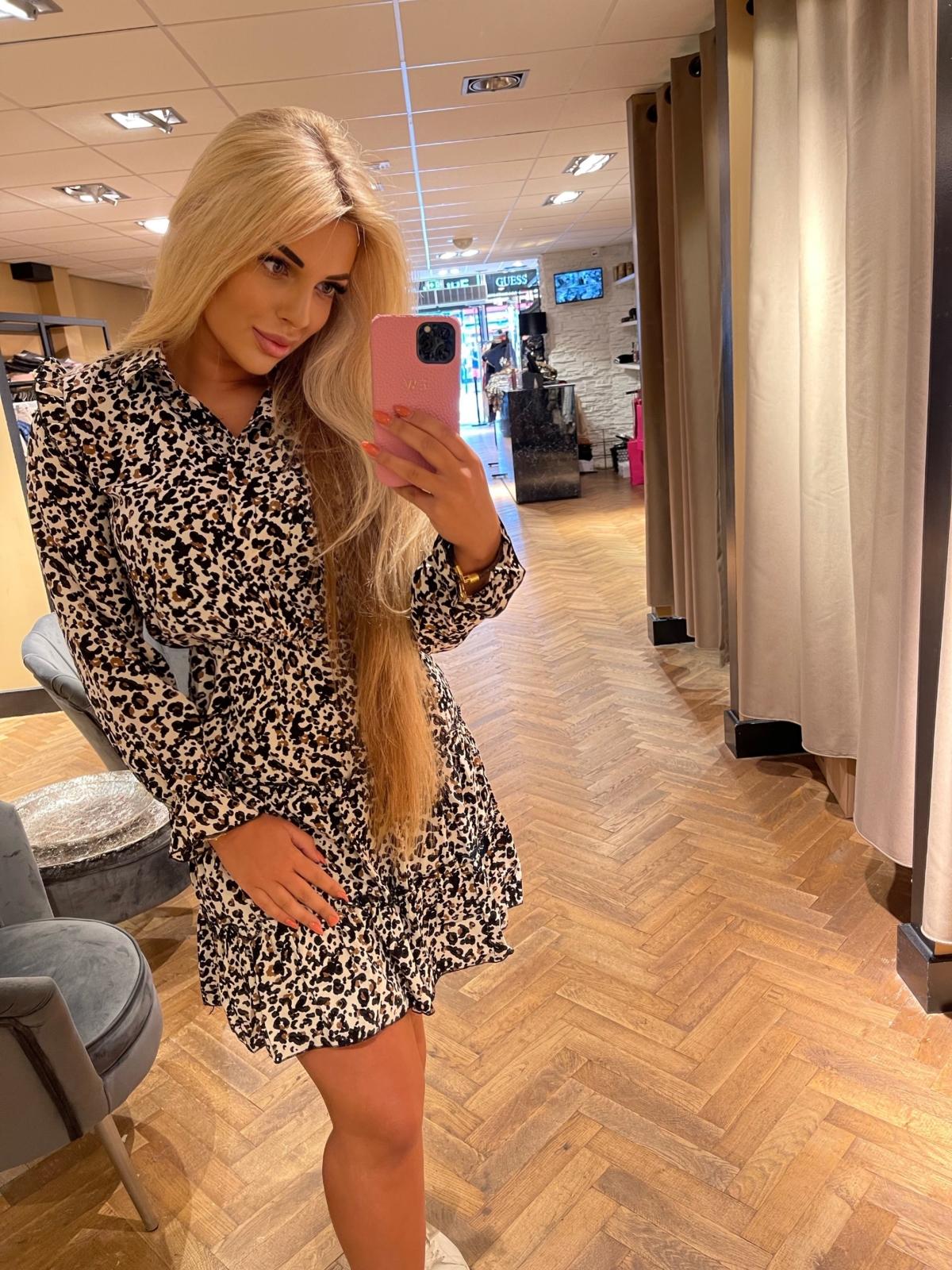 Sienna dress panterprint wit