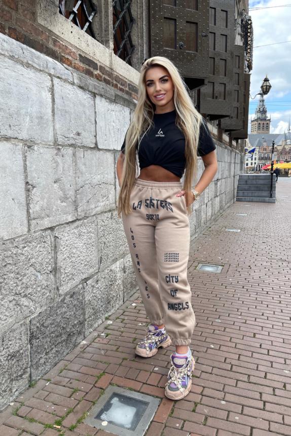 La Sisters track pants taupe new