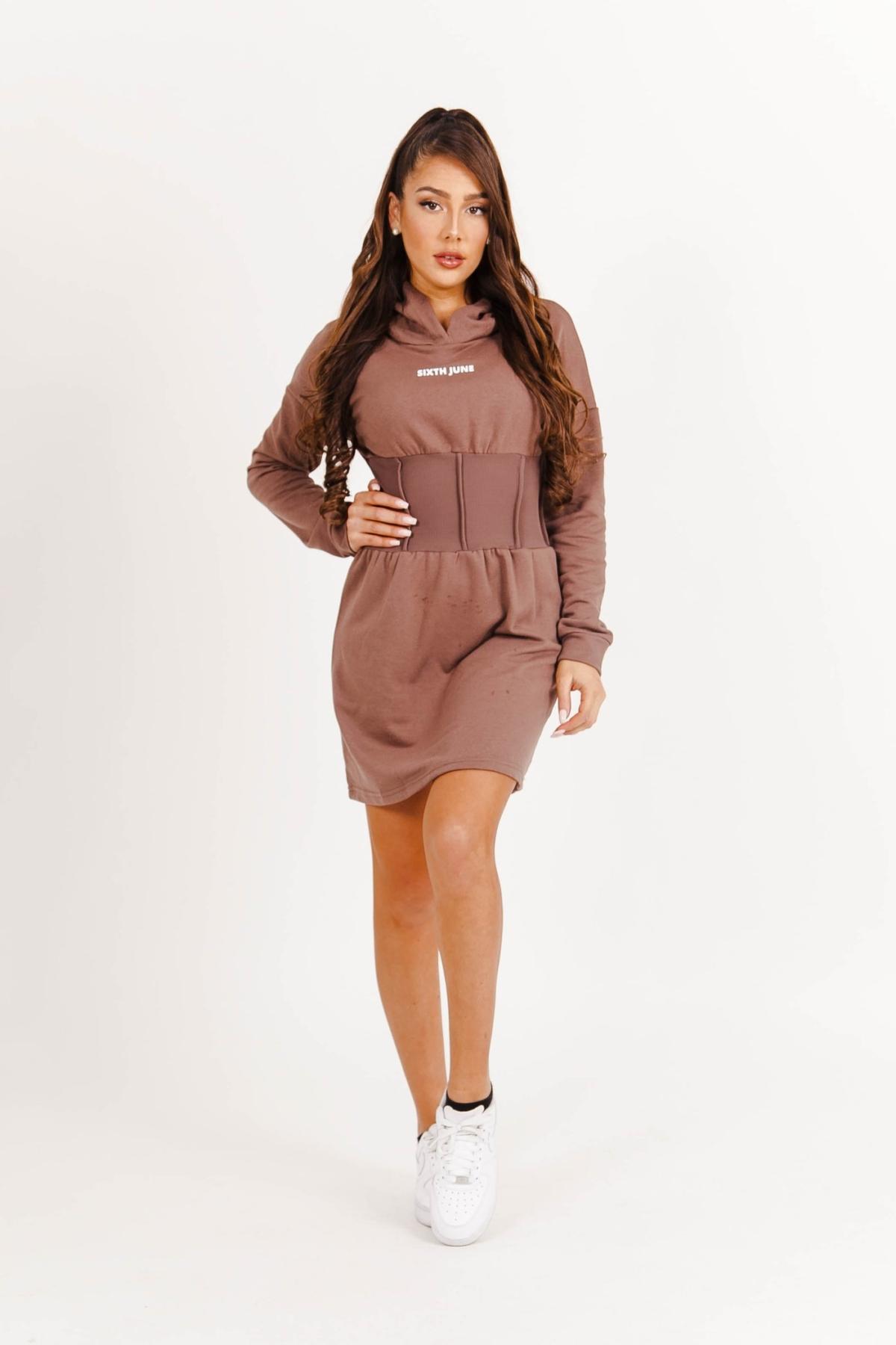 Sixth June Hoodie corset dress bruin New