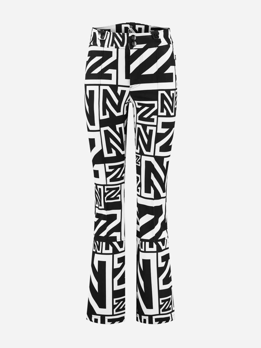 Black ski pants with N logo print